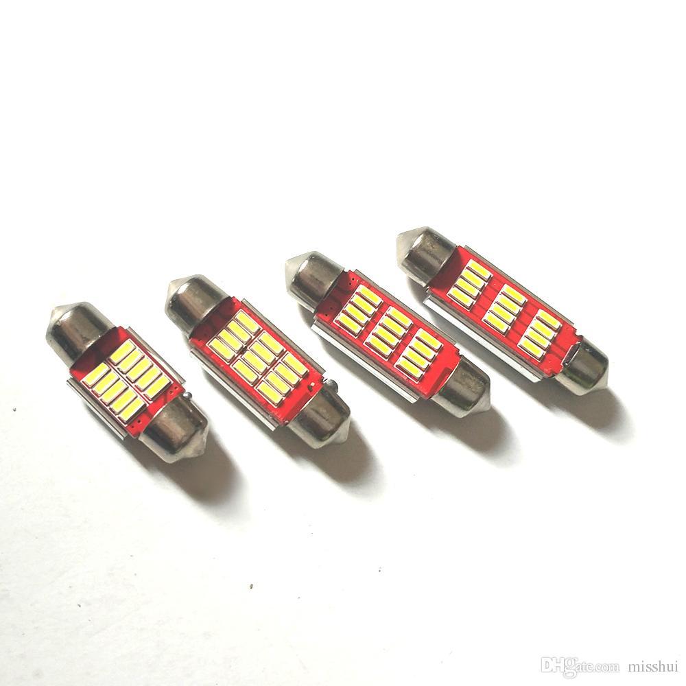 독서 빛 31 36 39 41mm 자동차 스타일링 오류 무료 12V 4014 12 SMD Festoon 인테리어 라이트 자동차 램프 전구 라이센스 플레이트 라이트 CANBUS