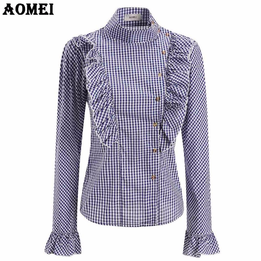 31bbeb5af5c 2019 Long Sleeve Gingham Blouse And Shirts For Women Blue Pink Black Plaid  Peplum Tops Female Checkered Clothing Spring Summer Office Work Wear From  ...