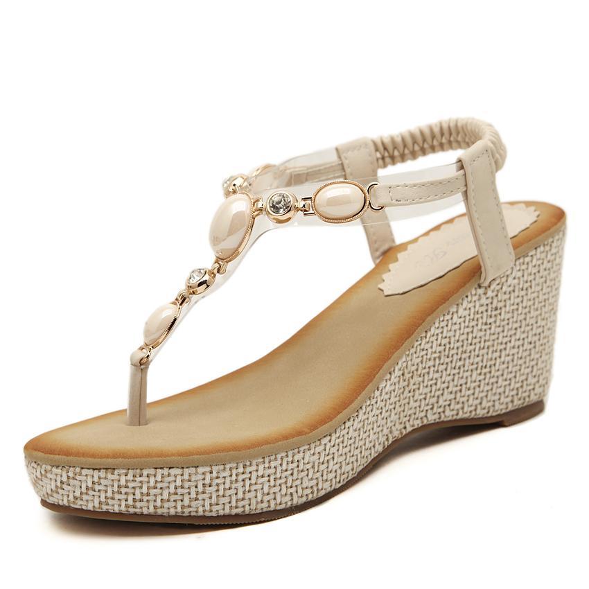d38a6f3af6d Wholesale 2016 New Sweet Women Shoes Fashion Wedges Shoes Beading Women  Sandals Back Strap Shoes Women Plus Size 35 40 Cheap Sandals Summer Sandals  From ...