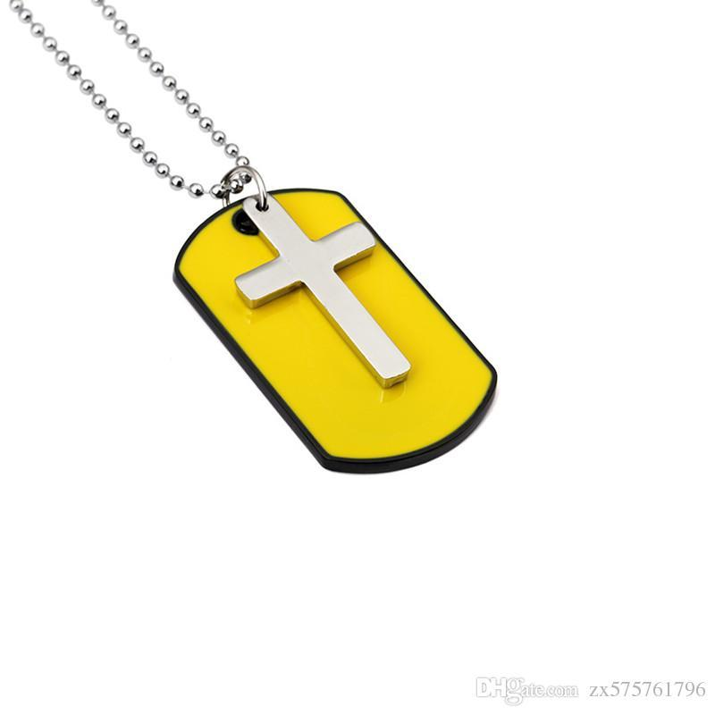 Wholesale fashion mens yelloy dog tag cross pendant necklaces wholesale fashion mens yelloy dog tag cross pendant necklaces jewelry for men 27inch beads chain hip hop men necklace mens engraved pendant necklace heart audiocablefo