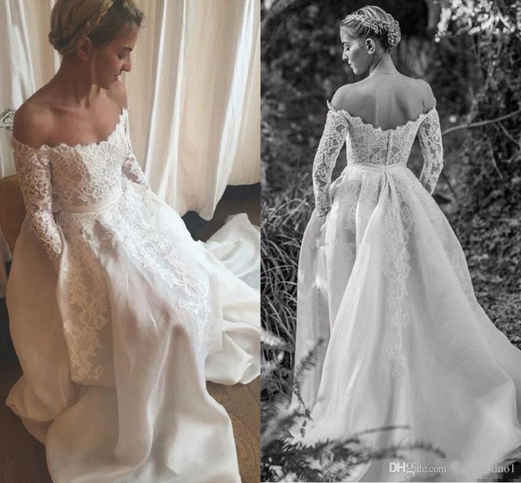 2017 Nova Elegante Fora Do Ombro A linha de Vestidos de Noiva Baratos Mangas Compridas Vestidos de Noiva Apliques de Renda de Cetim Vestidos de Casamento Do Vintage