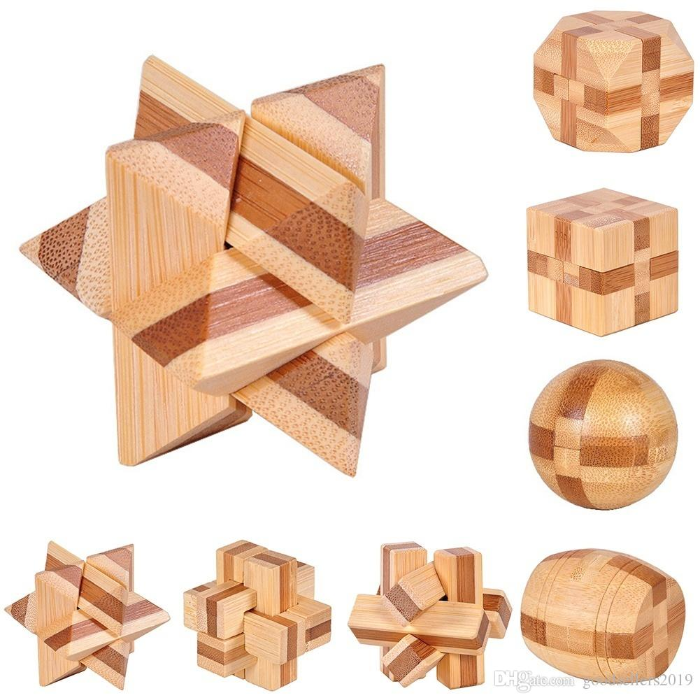 Classic 3D IQ Wooden Brain Teaser Bamboo Interlocking Puzzles Game Toy