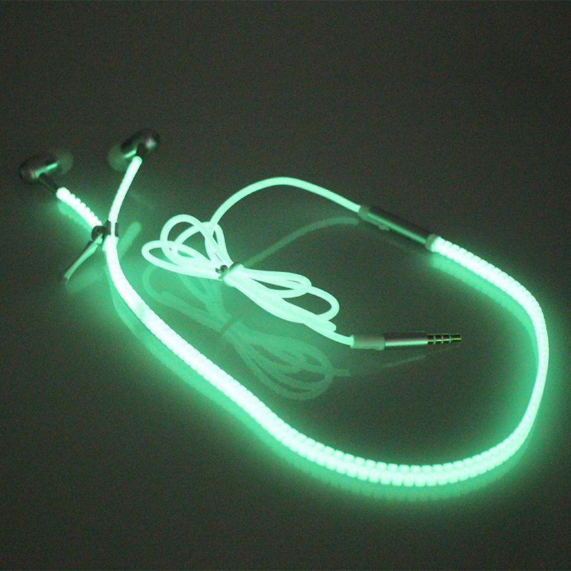 LED Luminous Earphones Glow In The Dark Headphones Metal Zipper Night Lighting Glowing Headset With Mic Handsfree For Samsung S10