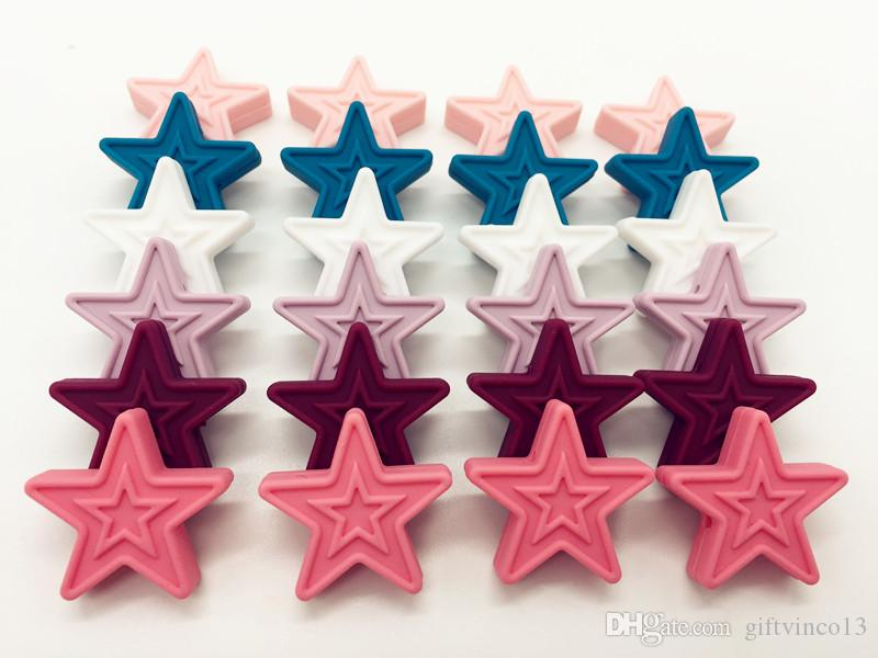 Food Grade Silicone Star Teething Beads 30mm Baby DIY Teether Necklace Pendant Bracelet Loose Beads Chewable Nursing Jewelry