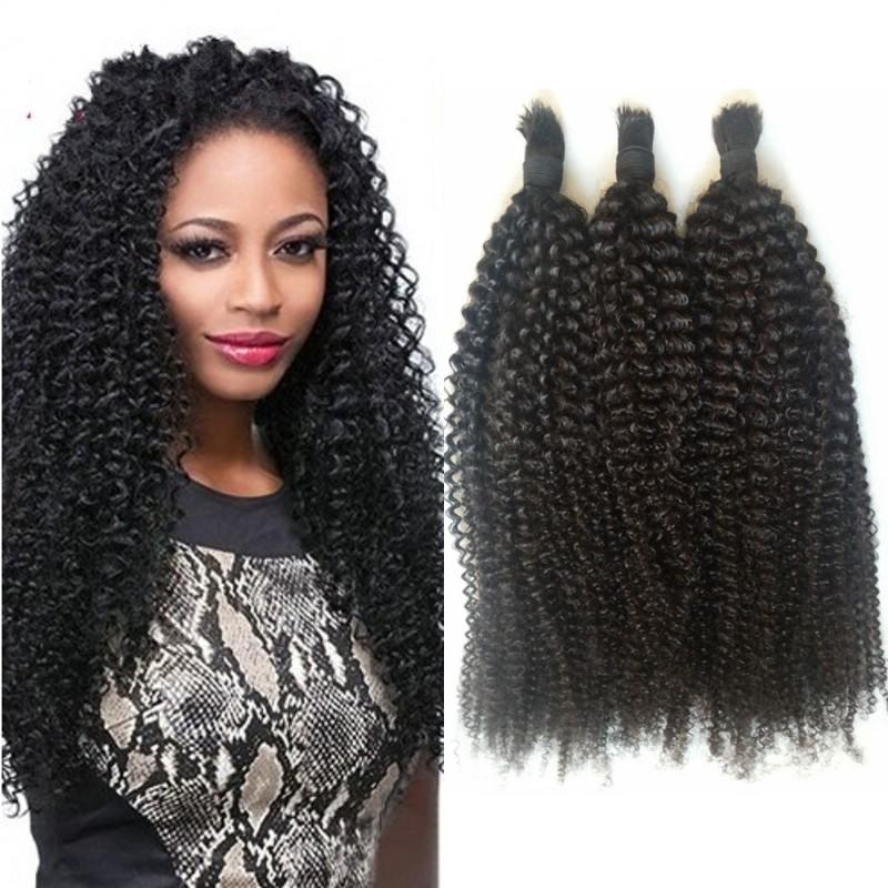 Peruvian Unprocessed Human Hair Bulk For Braiding 3 Bundles Kinky