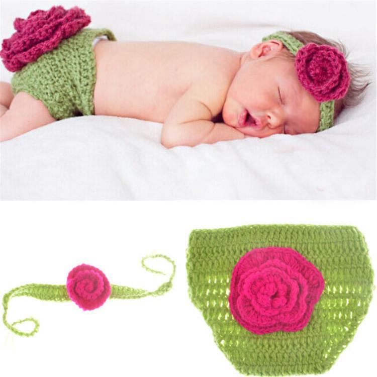 Newborn Baby Costume Crochet Baby Headband Baby Green Big Flowers