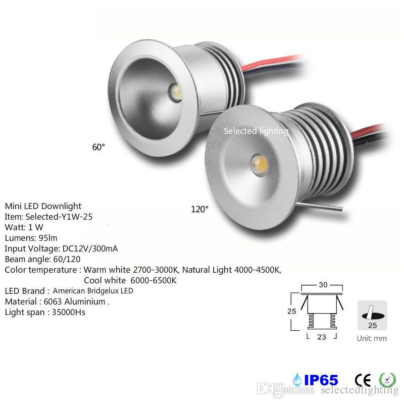 Imperméable à l'eau IP65 Mini Led Downlight 1W Souterrain Lampes DC12V Découpe 25mm Spot pour Éclairage Vitrine Bijoux