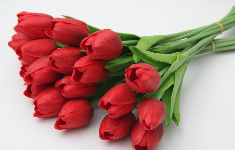 ПУ мини моделирование цветок тюльпан одиночные палочки чувствовать тюльпан украшения дома свадьба холдинг цветы 50 шт./лот
