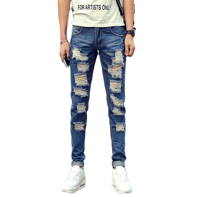 Extrêmement 2018 Wholesale New Summer Men Denim Jeans Men Ripped Hole Blue  YL57