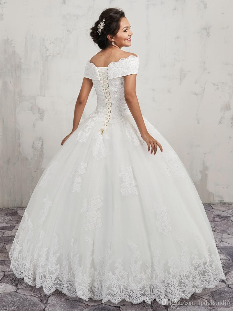 Vintage Lace Ball Gown Wedding Dresses Off Shoulder Lace-up Back Tulle ball and lace applique ball gown with bead embellished Bridal Gowns