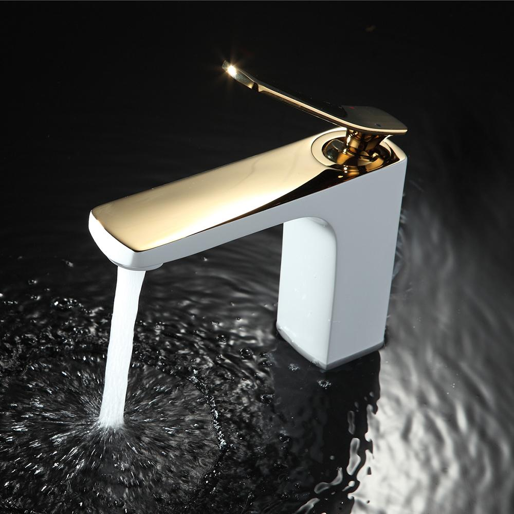 Bathroom Faucet Chrome Gold White Painting Faucet Basin Sink Mixer - Gold and chrome bathroom faucets