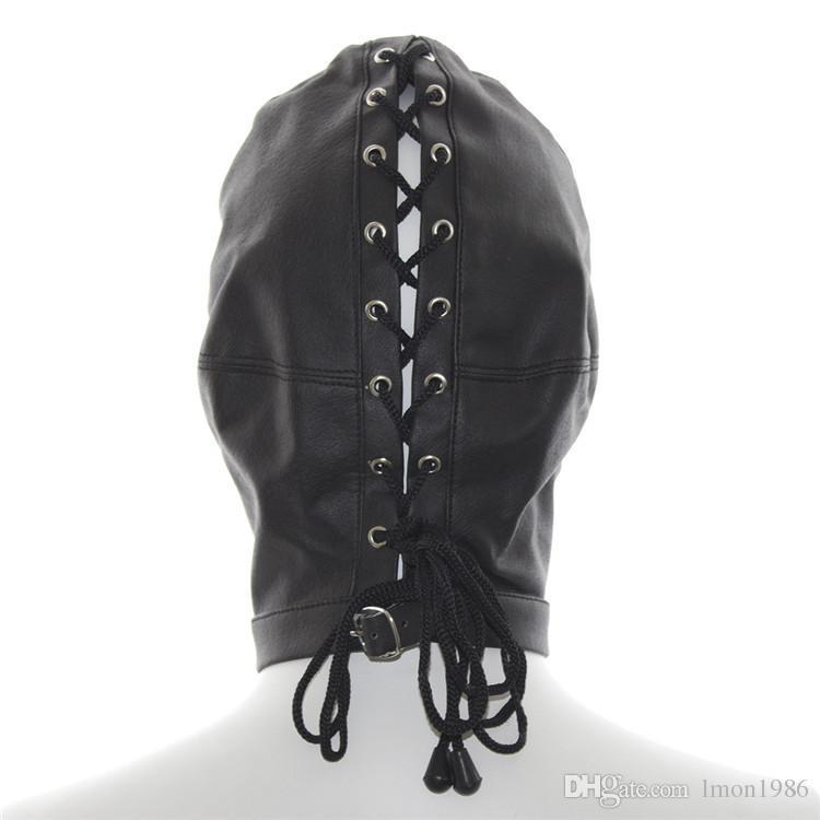 Hot Sale Fetish Dog Slave Soft PU Leather Mask Hood Bondage 3 Holes Breathe Head Restraint Adult Games Sex Products For Couples