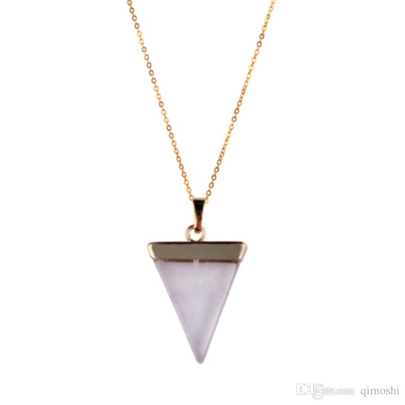 HOT Geometric Colorful Nature Stone Necklace Triangle Crystal Necklaces Pendant For Valentine's day Women And Men Wholesale