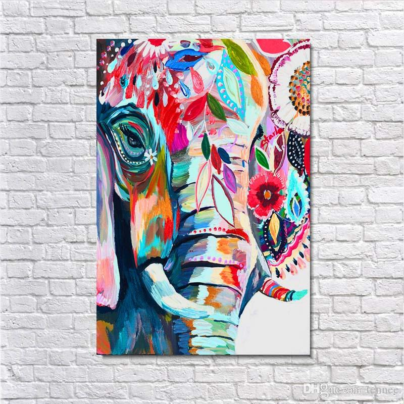 2018 Vintage Canvas Art Abstract Colorful Elephant Creative Poster Painting Picture Print On The CanvasWall Art Decor Retro Animal Canvas Poster From ...  sc 1 st  DHgate.com & 2018 Vintage Canvas Art Abstract Colorful Elephant Creative Poster ...