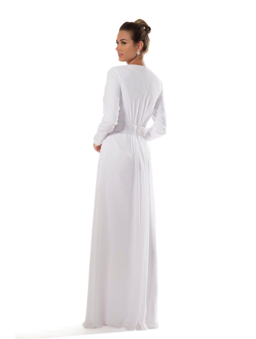 화이트 쉬폰 사원 겸손한 들러리 드레스 긴 소매 신부 비공식 리셉션 드레스 라인 바닥 길이 새로운 사용자 정의 만든