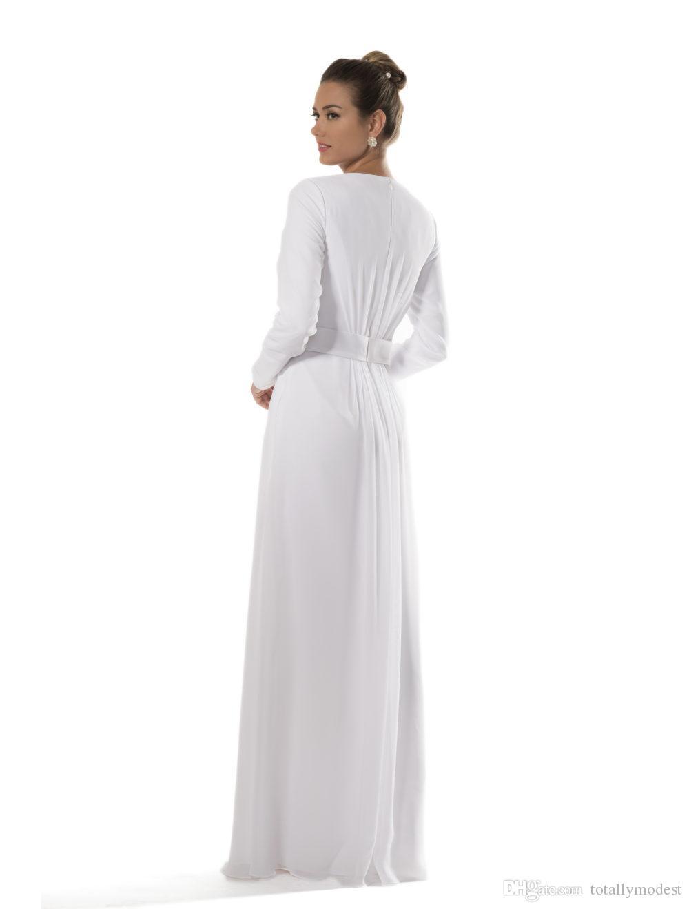 Templo de chiffon branco Vestidos de dama de honra modestos com mangas compridas Noivas Vestidos de recepção informais A linha Até o chão Novo Custom Made