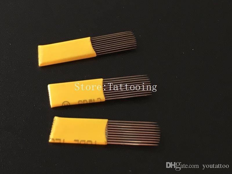 19 PIN U Linha Dupla Sobrancelha Microblading Agulha Maquiagem Permanente Dupla Agulha de Tatuagem Lâmina