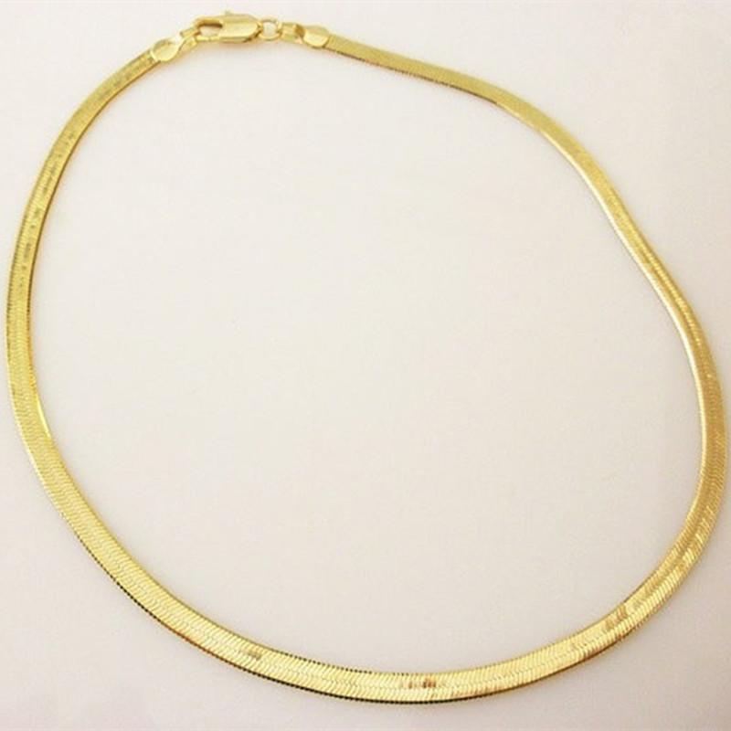 Nouveau en argent fin / plaqué or réglable chaîne serpent plat Bracelet Anklet Femmes simple chaîne de pied délicat Summer Beach Bijoux Pieds
