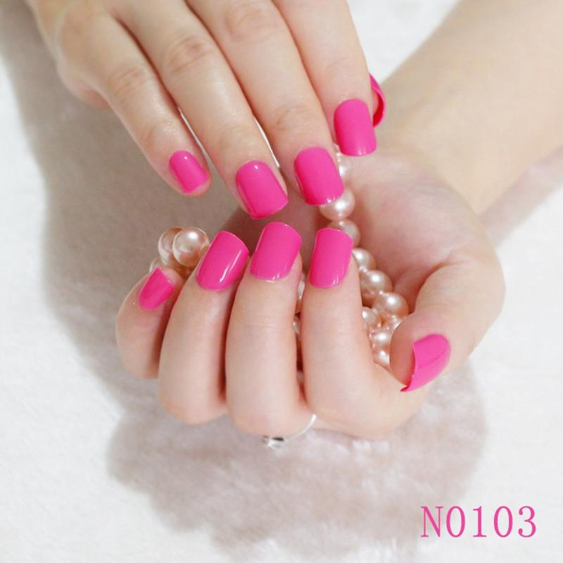 Wholesale 2016 Hot Fashion Candy Color Cute Nail Finished Fake Nails ...