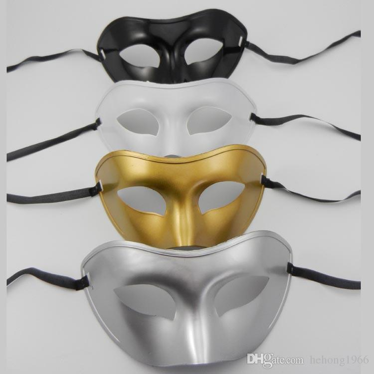 Party Masks Flat Masquerade Prince Mask Makeup Ball Concise Vizardmask Solid Color Gold Silver Black White Domino 1 2ts