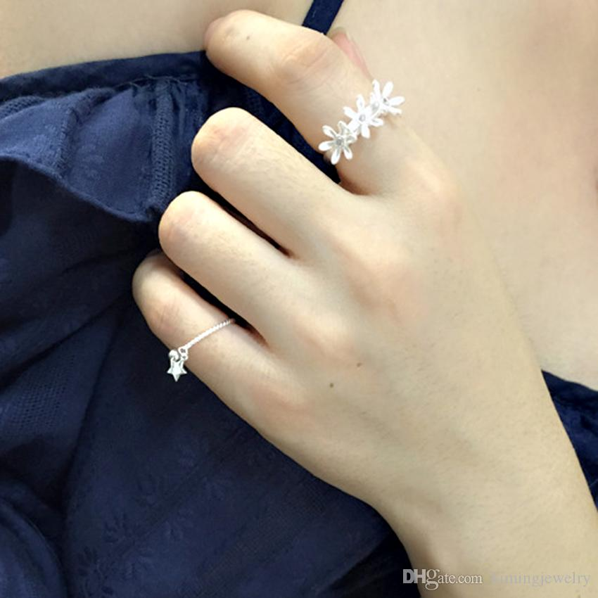 Latest Hot Unique Design 925 Sterling Silver Ring Stars Twisted Open Rings For Girl Women Gift Statement Jewelry