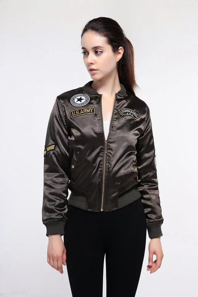 801f5b771 Wholesale- women bomber jacket 2016 female padded winter casual jacket  short coat embroidered patch green shiny Satin SML new arrival SML