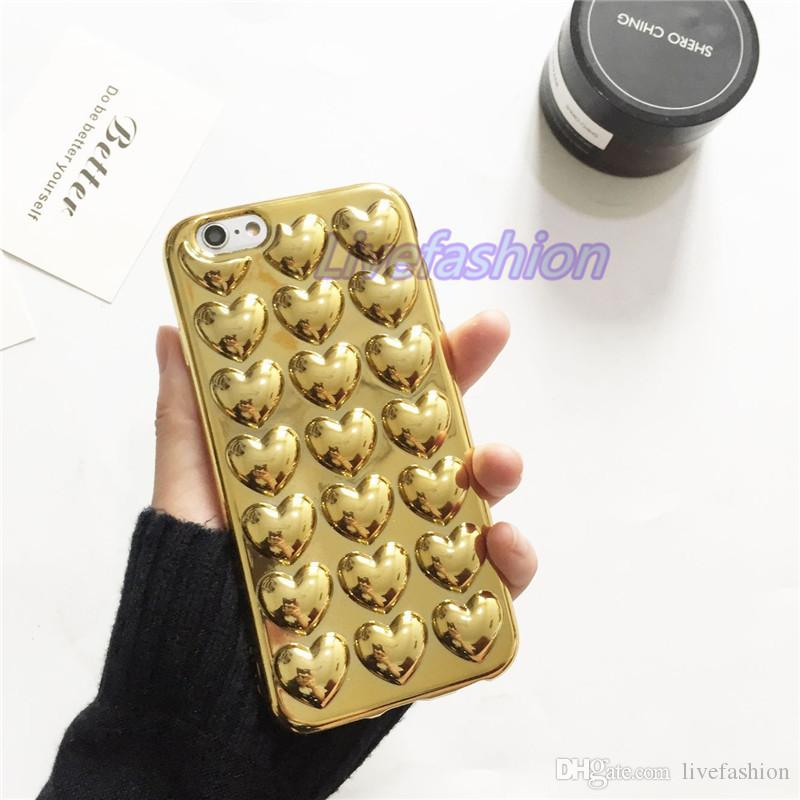Mari Gold Plating Heart-Shaped Jelly Phone Back Clear Case For iPhone 7 6 Plus Colorful Hard Clear Smart phone Cover Skin Shell