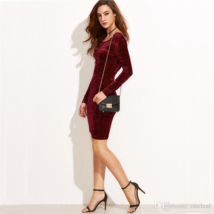 Sexy party dress lady velvet clothes bodycon classicial noble color S to XL long sleeve round neck special low back design