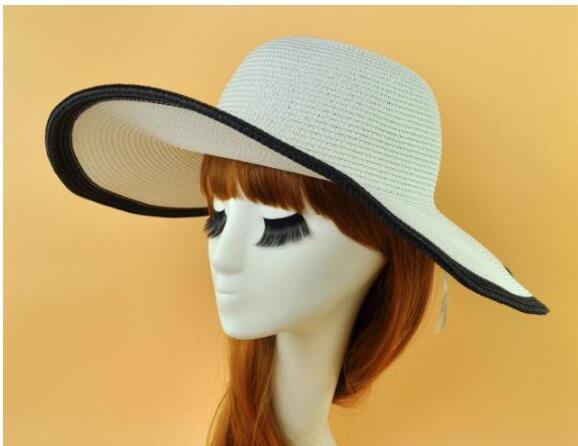 Kadınlar için sıcak moda kadınlar Plaj şapka yaz hasır şapka plaj kap güneş şapka Seksi bayanlar Siyah ve beyaz büyük ağız şapka