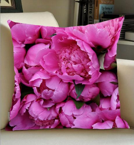 Haute-quailty en gros usine directe en plein air en sécurité rose pivoine fleur motif floral oreiller en plein air toile de lin face taie d'oreiller