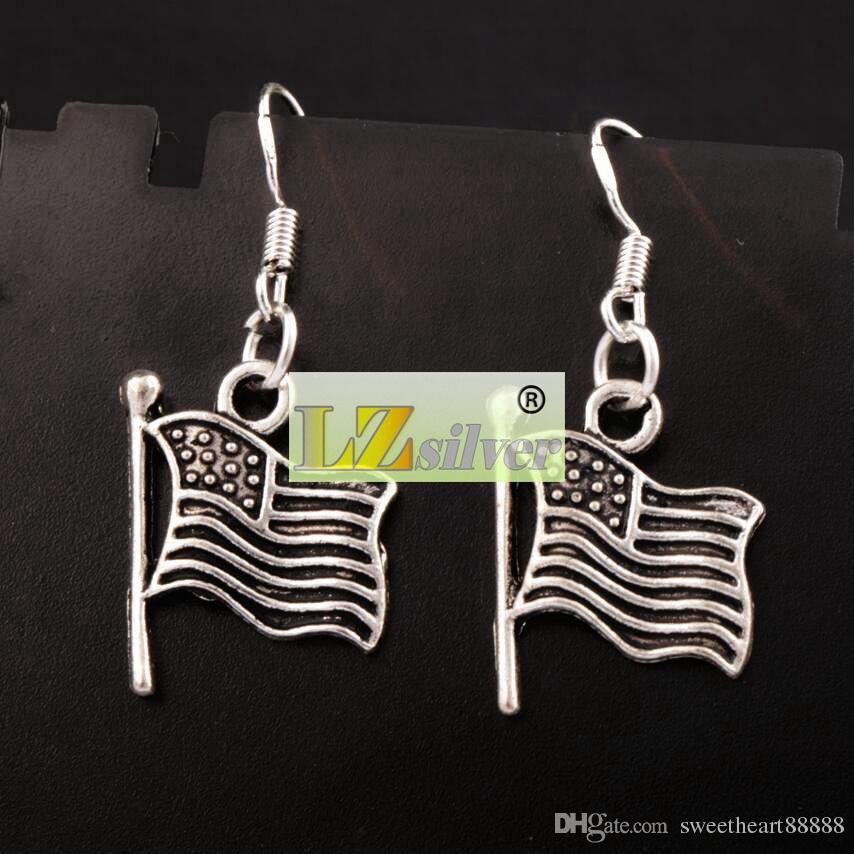 Flag Earrings 925 Silver Fish Ear Hook Antique Silver Chandelier E299 5.5x14.7mm