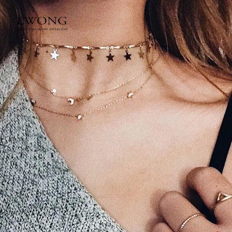 d365812d4b83 Compre Lwong Dainty Gold Color Cadena Estrella Estrella Gargantilla Collar  Para Mujer Collares De Bijou Colgantes Simple Boho Layering Chokers  Chockers A ...