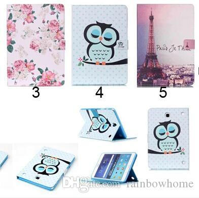 f96439ab2af5 Flower Beautiful Cover Owl PU Leather Fashion Wallet Flip Magnetic Case For  Samsung Galaxy Tab A 8.0 T350 Tab A 9.7 T550