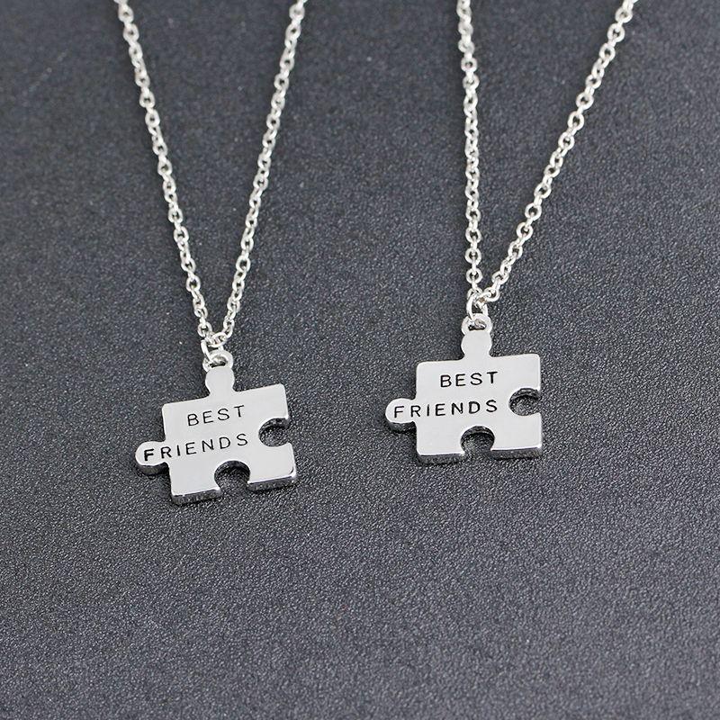 2 pz / set Nuovo Jigsaw Puzzle Best Friends Collana 2 Bamp Bistrot Due Catene Collana Del Pendente Lettere Incise Regalo