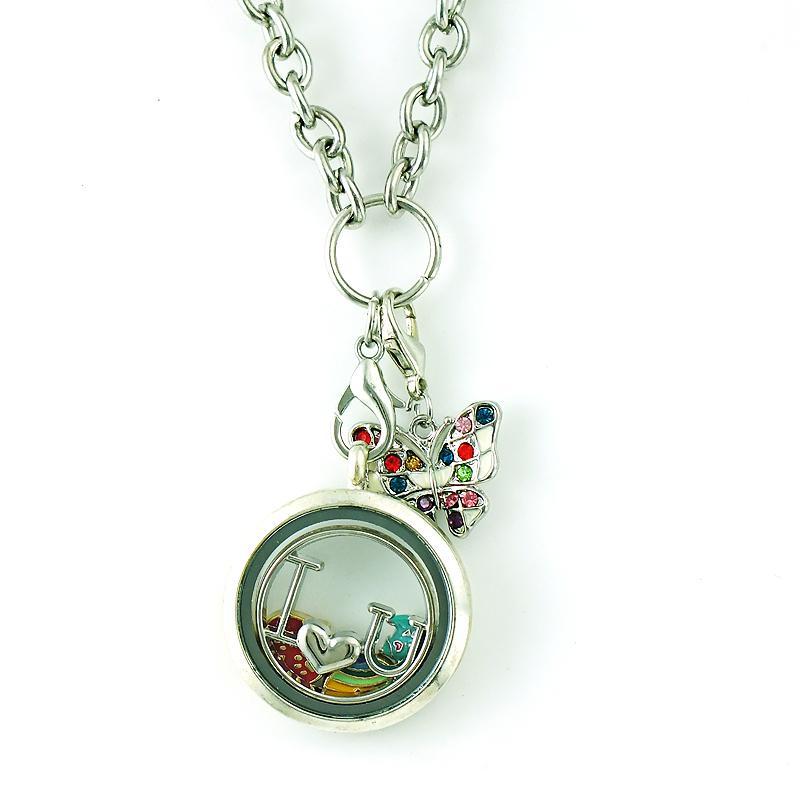 أزياء سحر العائمة مع قفل جراد البحر اللون حجر الراين المينا فراشة الحيوانات DIY سحر لصنع المجوهرات الملحقات