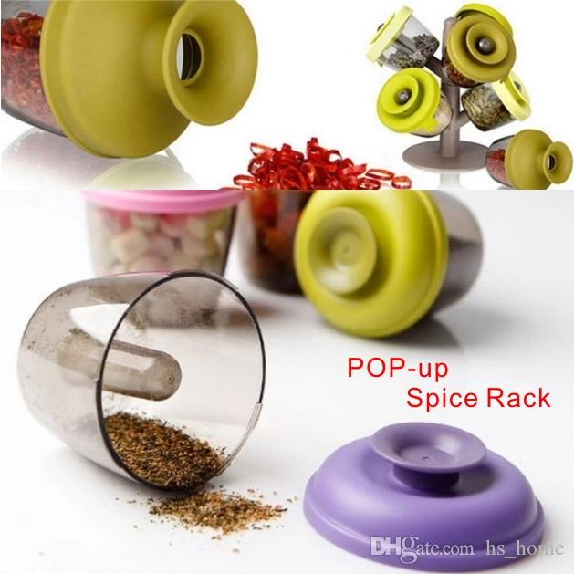 High-quality Fashion New Products Creative Tree Shaped Pop-up Spice Rack With 6 Spice Container Kitchen Tools