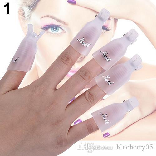 Moda Venta caliente 10 unids / lote Plástico Nail Art Soak Off Cap Clip UV Gel Esmalte Removedor Wrap Tool compras gratis