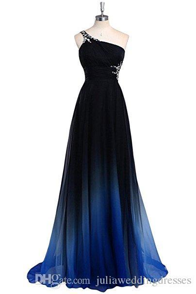 2017 neue Farbverlauf Chiffon Prom Kleider Eine Schulter Eine Linie Bodenlangen Party Kleid Bodenlangen Abend Formale Lange Party Kleid QC437