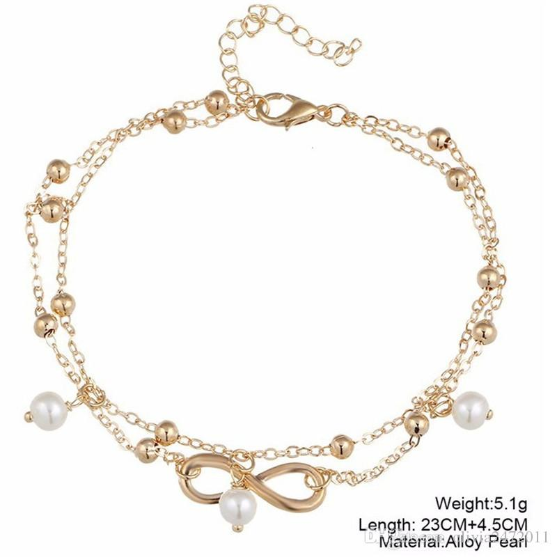 Vintage Gold Silver Color Pearl Charms Anklet For Women Bohemian Ankle Bracelet Boho Sandal Foot Jewelry HZ