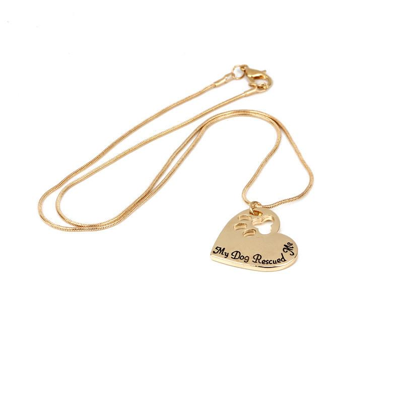 Fashion Dog Paw Pendant Necklaces My Dog Rescued Me Gold Silver Plated For Women Necklaces Gift