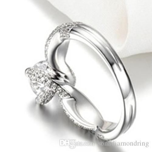 Calidad asombrosa 2CT excelente VVS1 anillo de bodas de diamante sintético para mujer cubierta de oro blanco para siempre joyería brillante para la novia