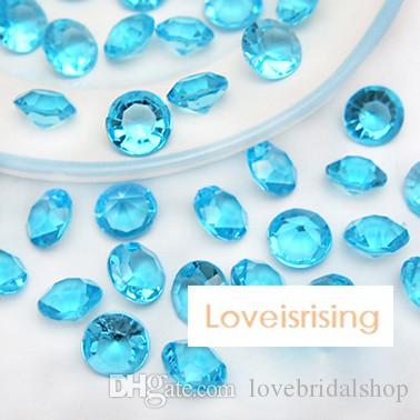 18 colores - 1000pcs / lot 10mm (4 quilates) Aqua Blue Diamond Confetti Faux acrílico grano mesa Scatter Favores de la boda decoración del partido - envío gratis