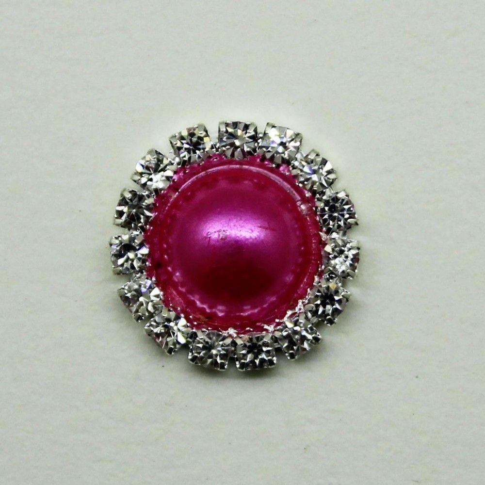 15mm Round Metal Crystal Rhinestone Button With Pearl Center Wedding Hair Embellishments DIY Accessory Decoration