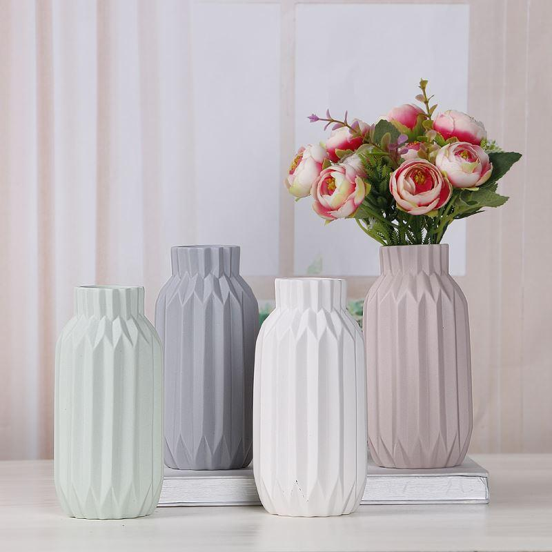 Ceramic Flower Vase Home Decor Simple Luxury Desk Decor Wedding Vases Folding Paper Surface Flower Pots White/Grey/Pink 15cm Vase 41 Flowers For Vases ... & Ceramic Flower Vase Home Decor Simple Luxury Desk Decor Wedding ...