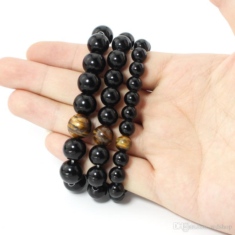 Natural Black Onyx Agate With Tiger Eye Stone Beads Bracciale Uomo Bracciali Energy Strand Bracciali Bracciale Healing Yoga Chakra