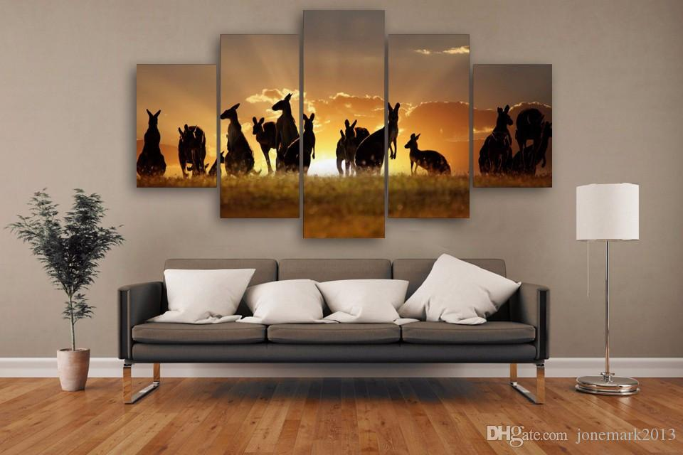 Framed HD Printed Sunset Kangaroos Picture Wall Print Poster Canvas Oil Painting Abstract Wall Art