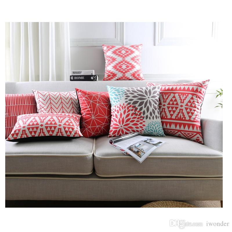 Red Geometric Cushion Cover 40 Styles Nordic Warm Color Soft Pillow Impressive Protective Pillow Covers