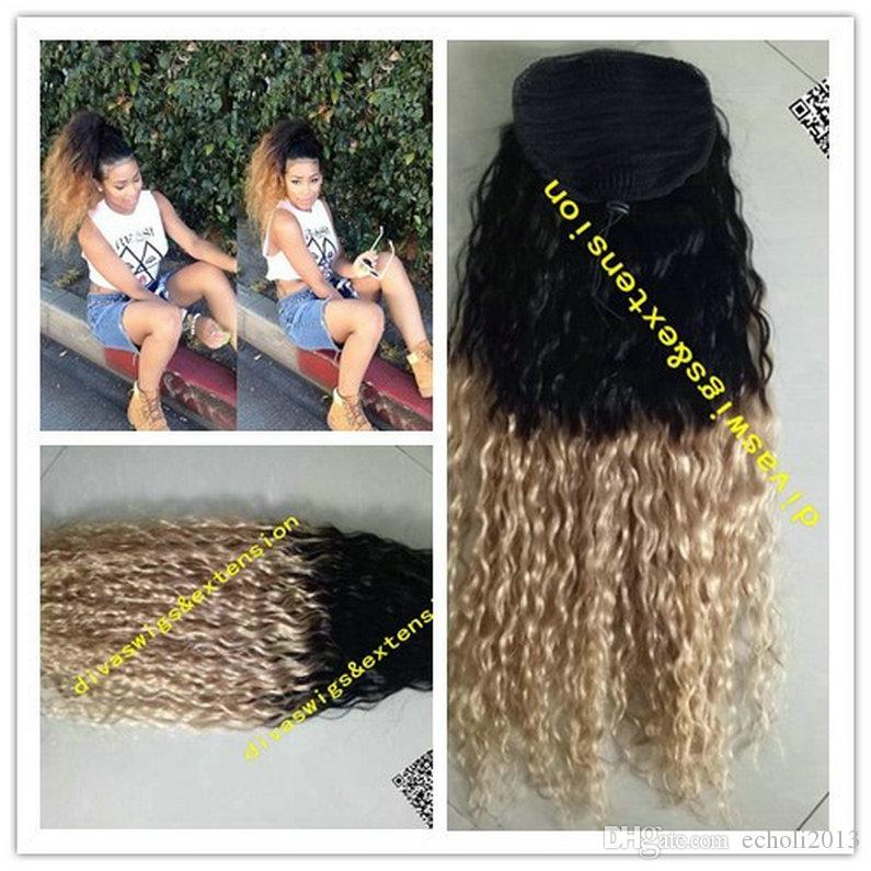 사용자 정의 ombre 금발 1b / 27 포니 테일 처녀 브라질 곱슬 곱슬 인간의 머리 Ombre 포니 테일 클립 금발 머리 확장