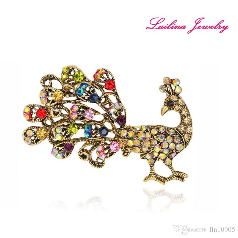 New Arrival Fashion Wedding Pins Women Jewelry Brooches Multicolor Rhinestone  Vintage Peacock Brooch Pins As Gifts UK 2019 From Lln10005 481670427e88