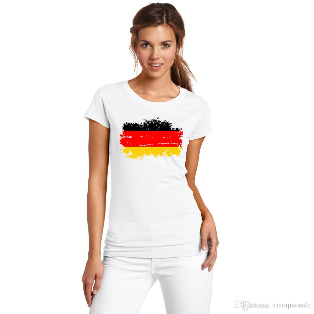 Top shirt European Cup Germany Women Fans Cheer Tshirt Germany Nostalgic Flag Design White Color Female T-shirt
